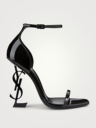 SAINT LAURENT Opyum Patent Leather YSL Heeled Sandals Women's Black