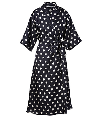 MAX MARA Esposto Silk Wrap Dress In Floral Print Women's Blue