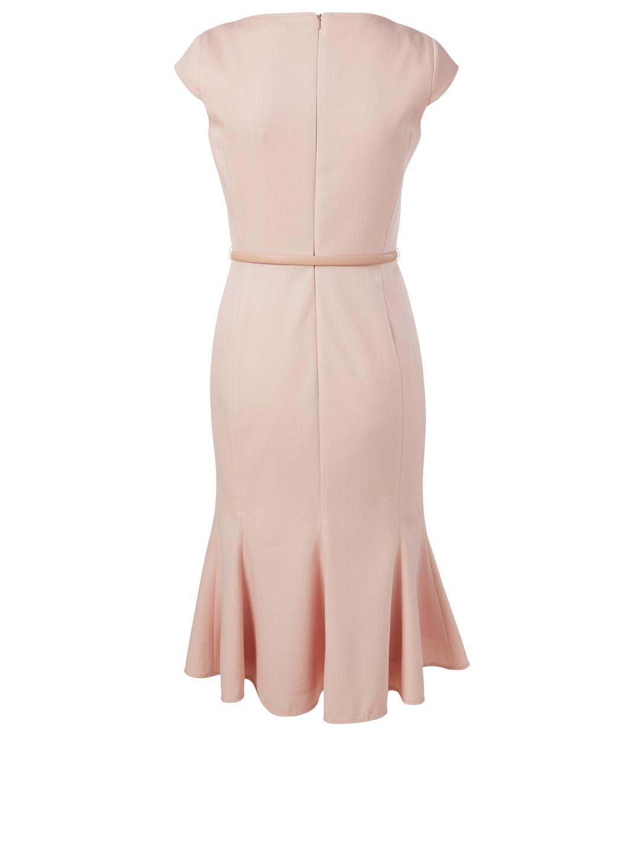 MAX MARA Vezzo Wool Belted Godet Dress Women's Pink