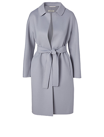 MAX MARA Doraci Wool Belted Wrap Coat Women's Blue
