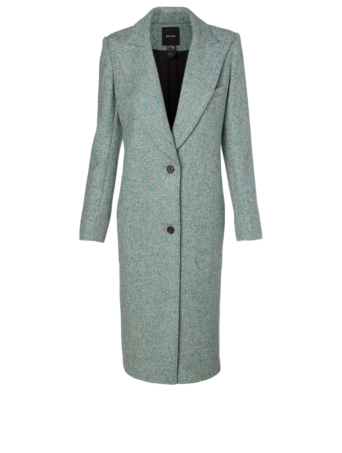 SMYTHE Wool Peaked Lapel Coat In Herringbone H Project Grey