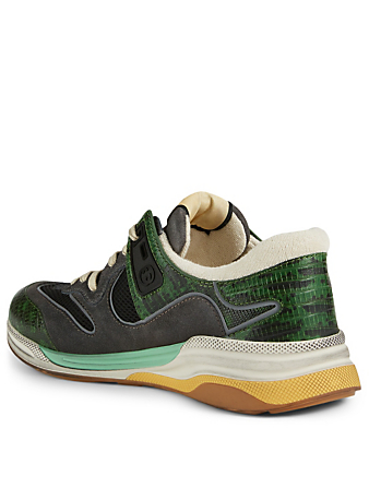 GUCCI Ultraspace Leather Sneakers In Tejus Print Men's Green