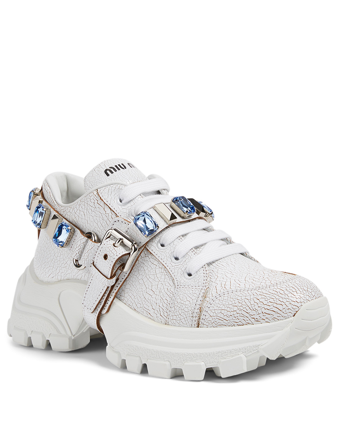 MIU MIU Cracked Leather Sneakers With Crystal Strap Women's Blue