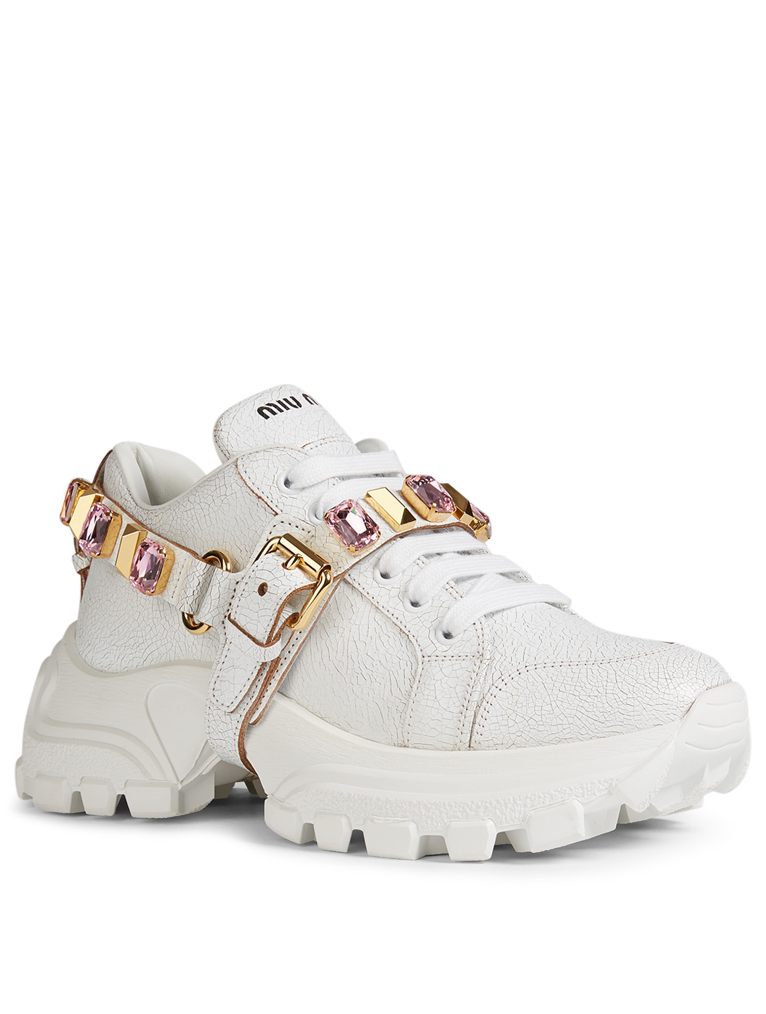 MIU MIU Cracked Leather Sneakers With Crystal Strap Women's Pink