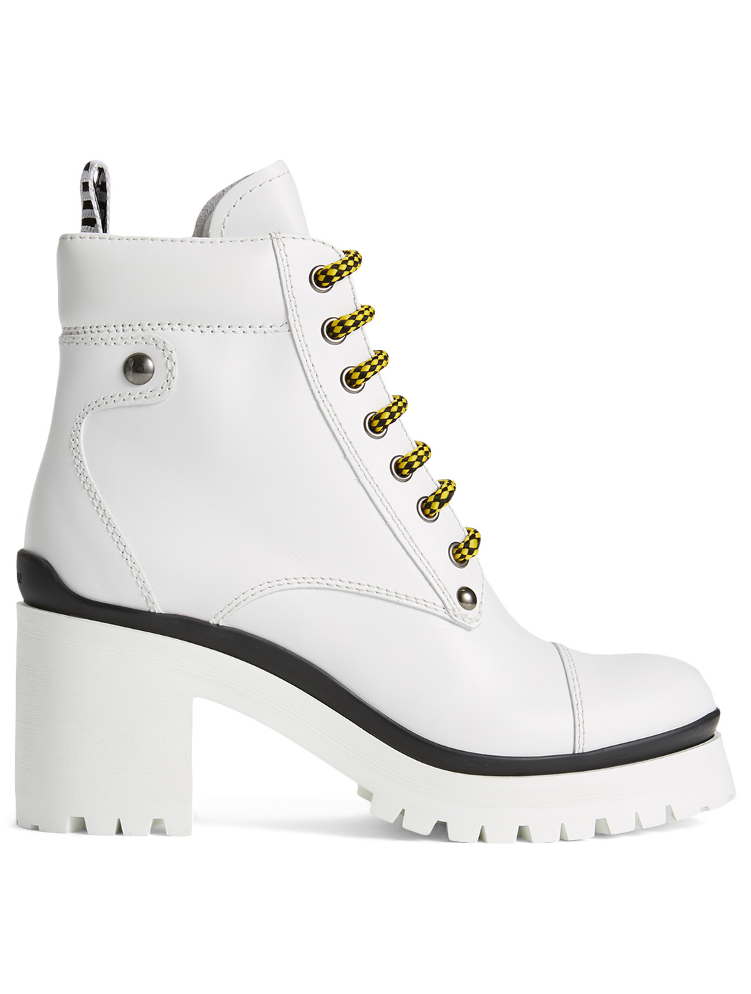MIU MIU Leather Heeled Combat Boots Women's White