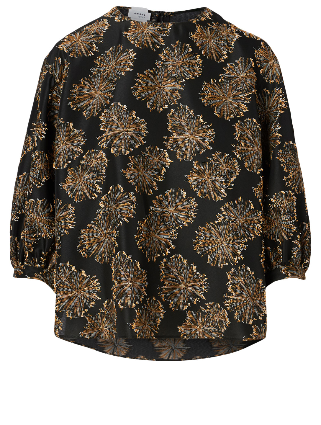 AKRIS PUNTO Roundneck Blouse In Floral Print Women's Black