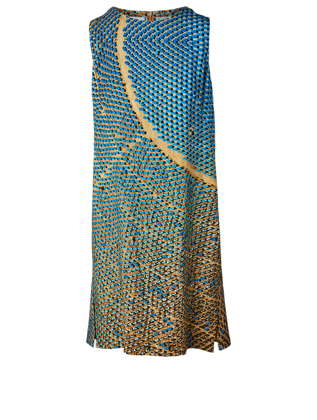 AKRIS PUNTO Sleeveless Shift Dress In Solar Print Women's Blue