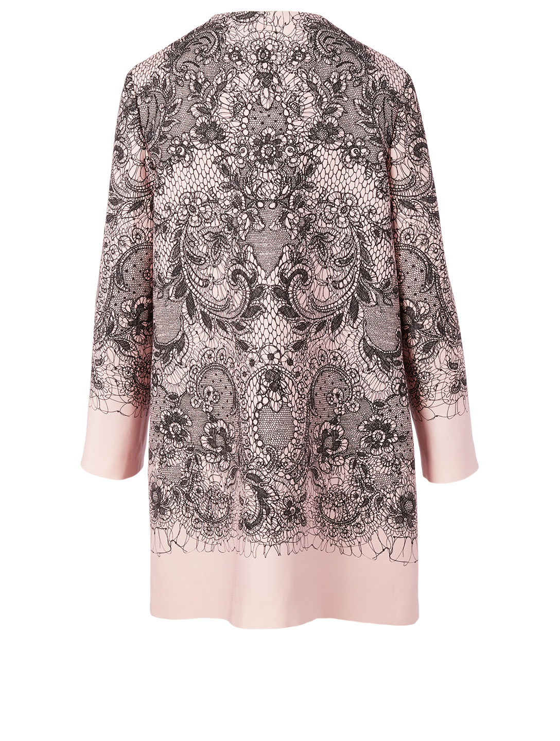 VALENTINO Wool And Silk Coat In Lace Print Women's Pink