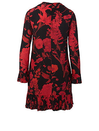 VALENTINO Silk Long-Sleeve Dress In Floral Print Women's Multi