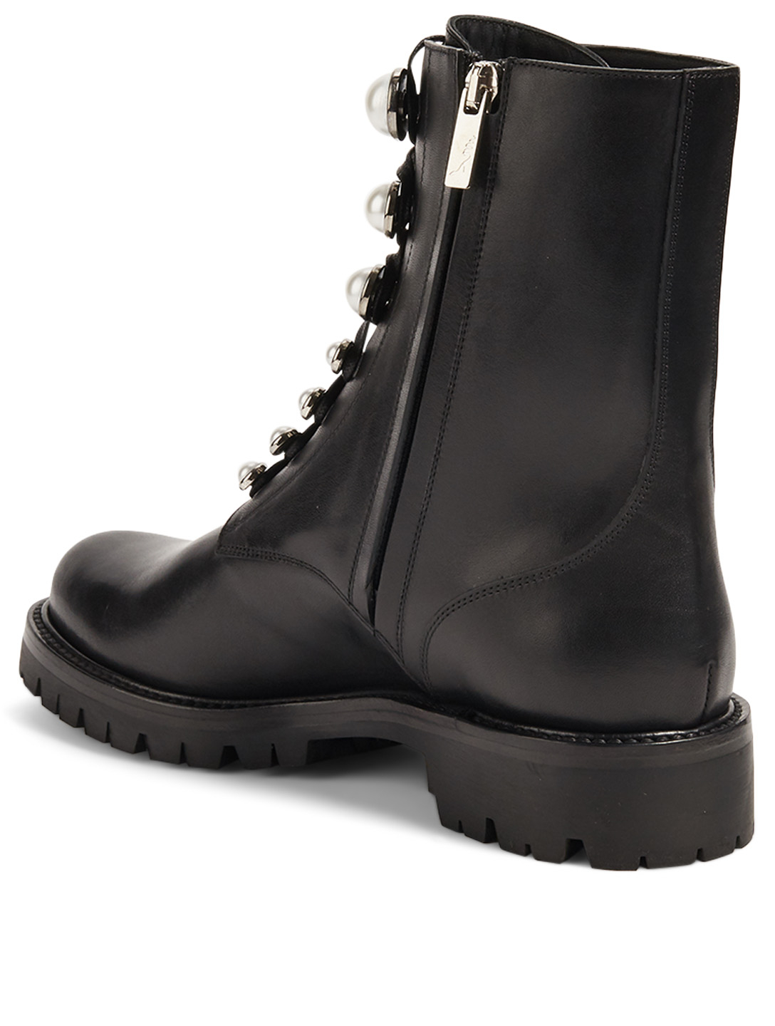 RENE CAOVILLA Perlarita Leather Combat Boots Women's Black