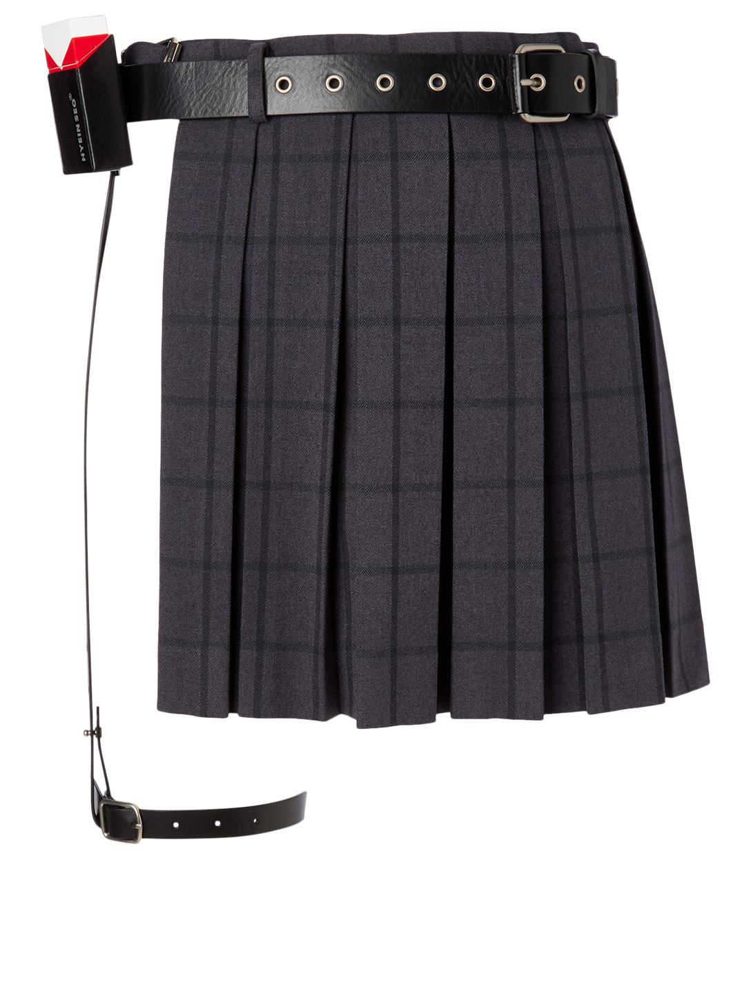 HYEIN SEO Pleated Skirt With Leather Belt Women's Grey