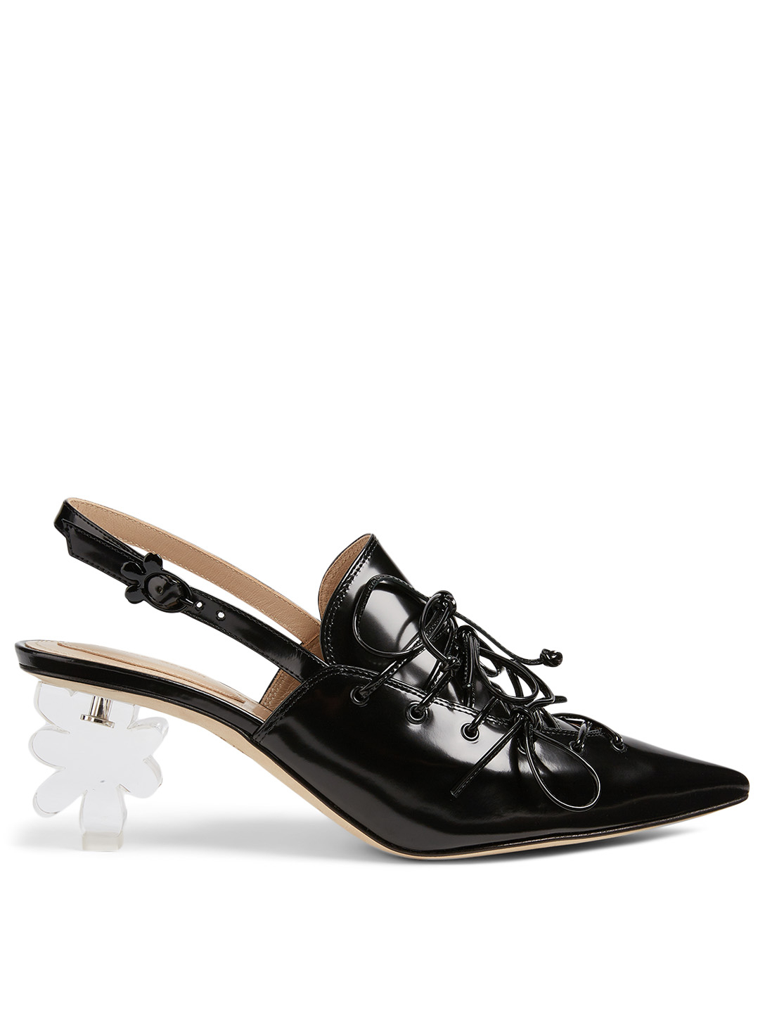 Flower Heel Leather Slingback Pumps by Holt Renfrew