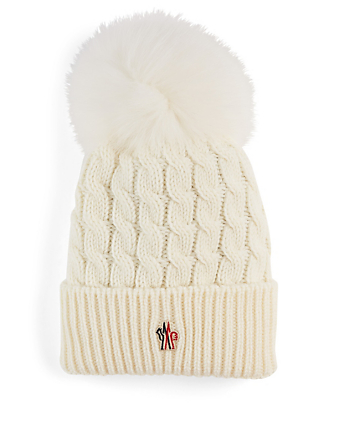 MONCLER Cable Knit Wool Toque With Fur Pom Women's White