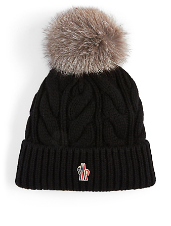 MONCLER Cable Knit Wool And Cashmere Toque With Fur Pom Women's Black