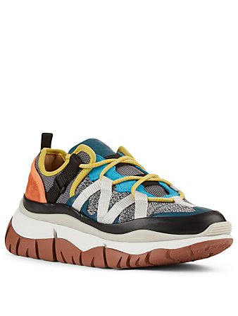 CHLOÉ Blake Suede And Knit Sneakers Women's Multi