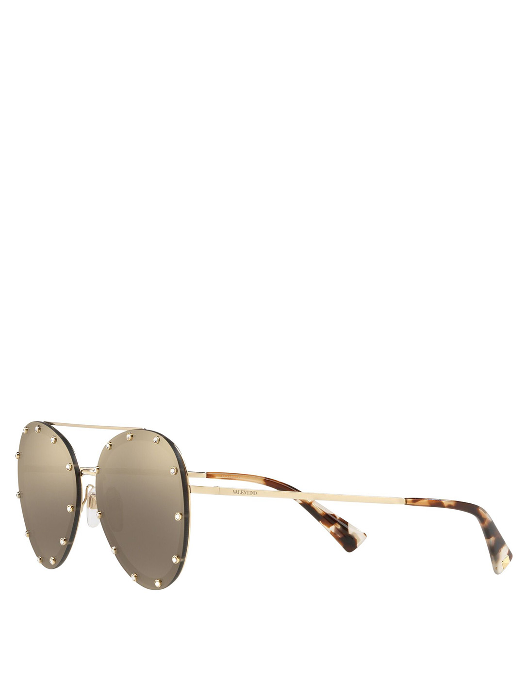 VALENTINO Aviator Sunglasses With Crystals Women's Metallic