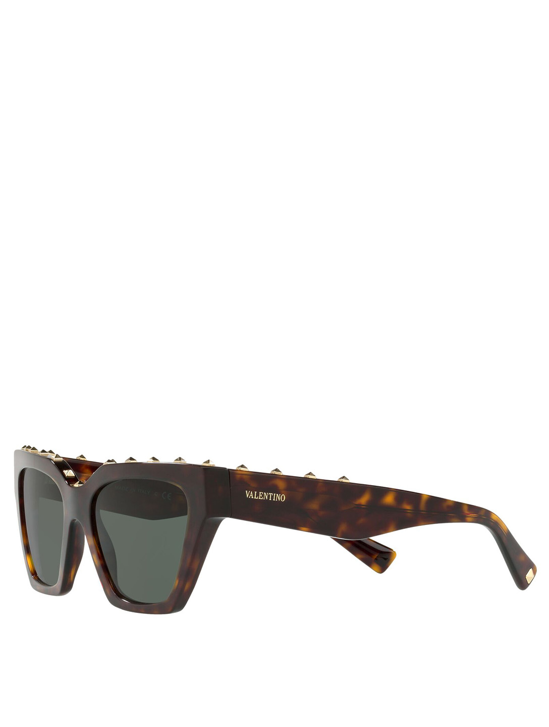 VALENTINO Square Sunglasses With Studs Women's Brown