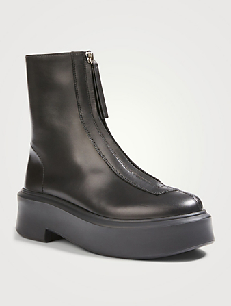 THE ROW Zipped 1 Leather Ankle Boots Women's Black