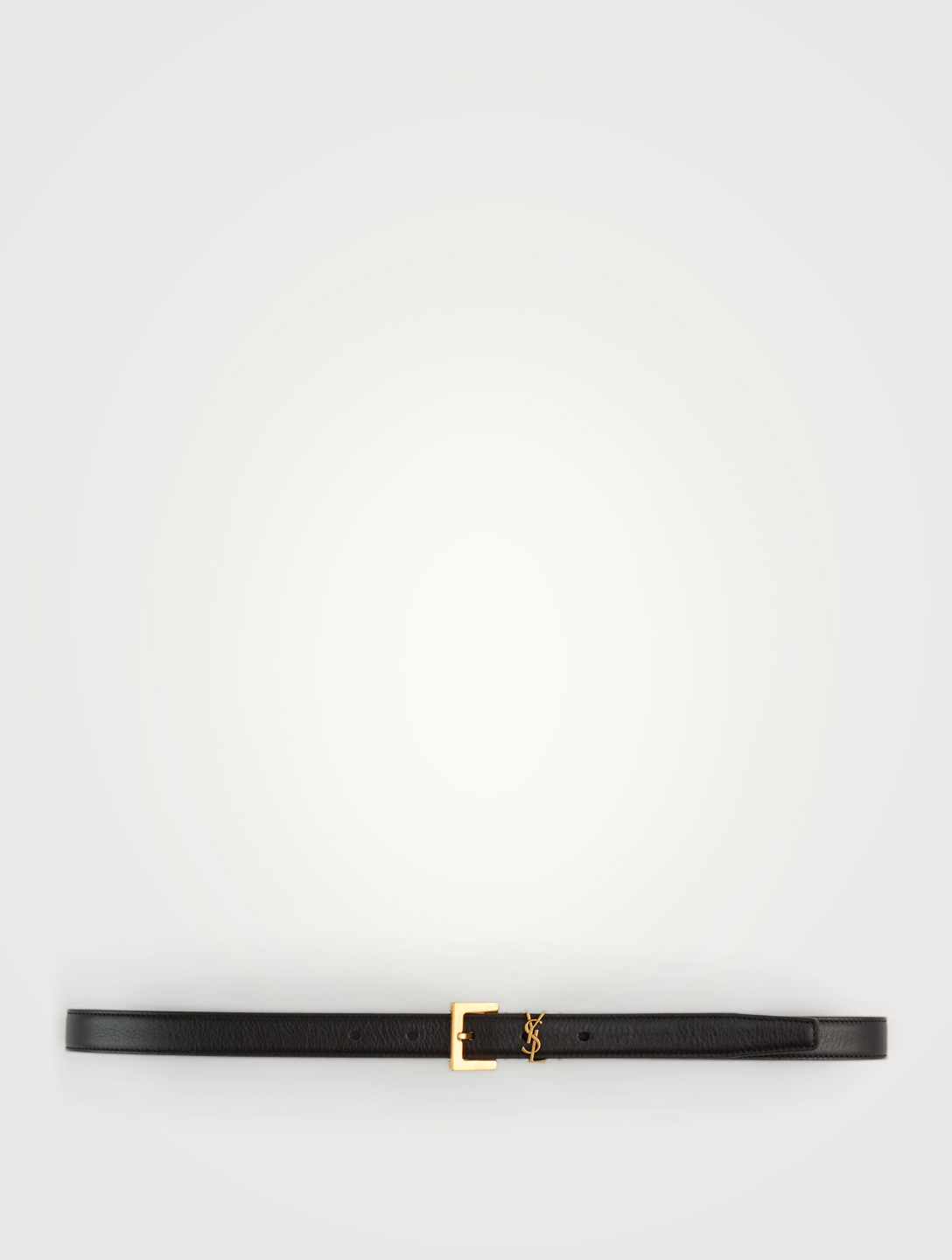SAINT LAURENT YSL Monogram Leather Belt Women's Black