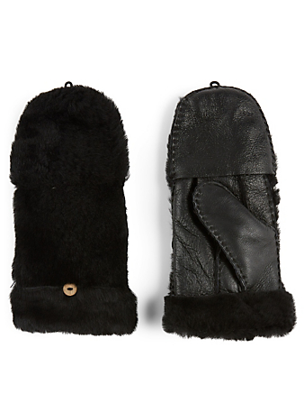 POLOGEORGIS Shearling Pop-Top Mittens Women's Black
