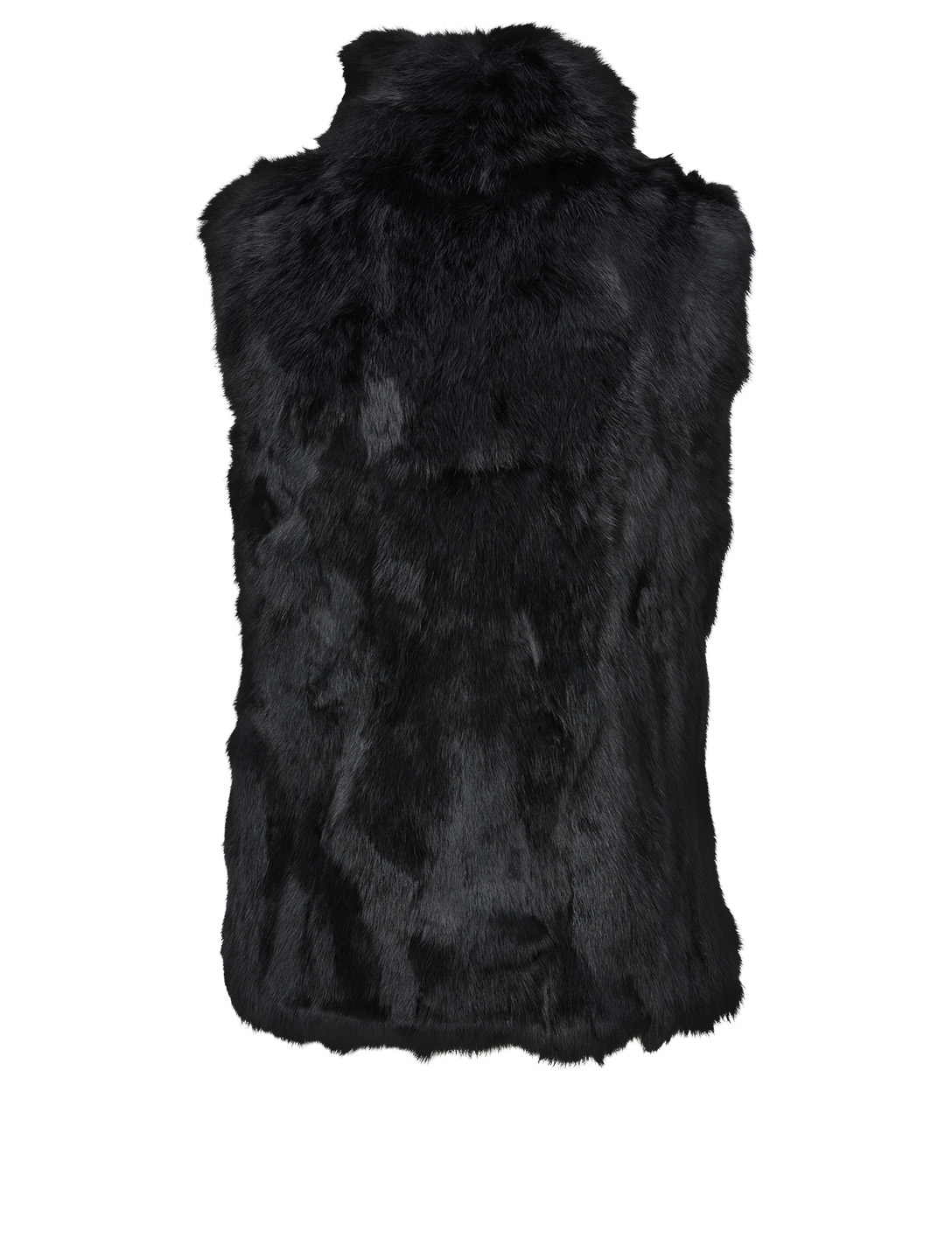 POLOGEORGIS Rabbit Fur Patchwork Vest Women's Black