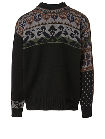 SACAI Wool-Blend Embroidered Sweater Designers Black