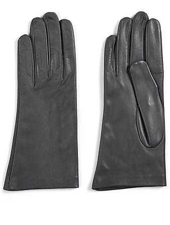 FLORIANA GLOVES Short Silk-Lined Leather Gloves Women's Grey