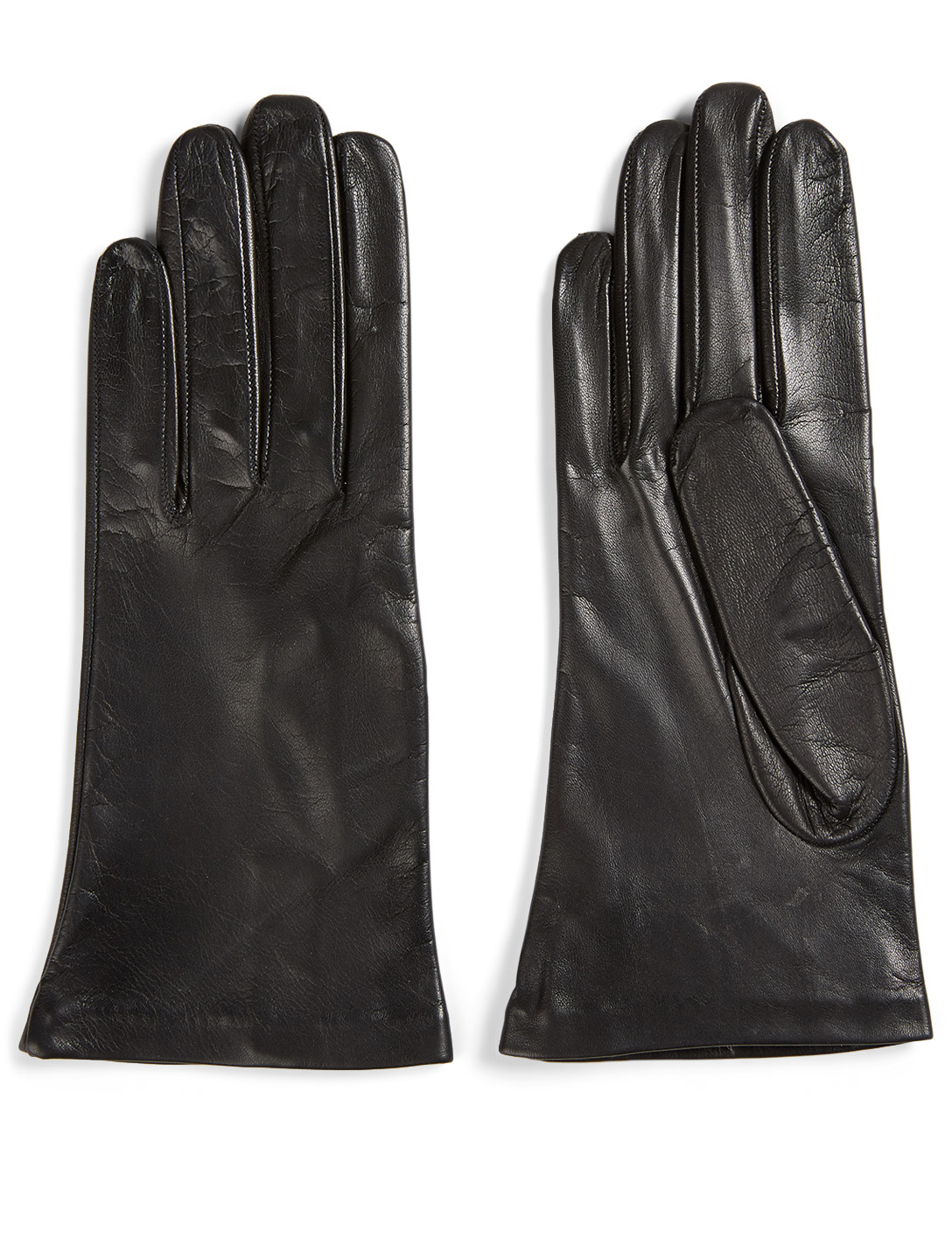 FLORIANA GLOVES Short Silk-Lined Leather Gloves Women's Black