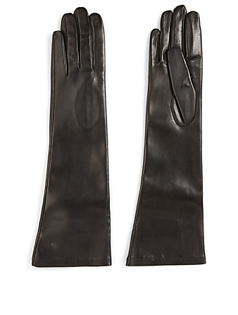 FLORIANA GLOVES Long Silk-Lined Leather Gloves Women's Black