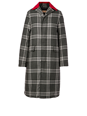 MARNI Wool Down Long Coat In Check Print Women's Grey