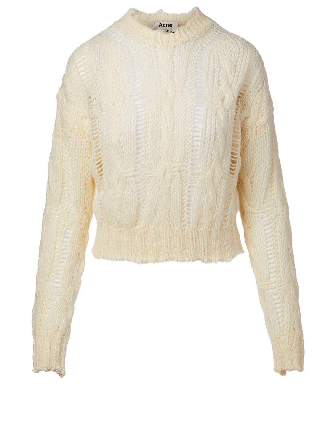 ACNE STUDIOS Wool-Blend Cable-Knit Sweater Women's White