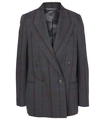 ACNE STUDIOS Wool-Blend Blazer In Check Print Women's Grey
