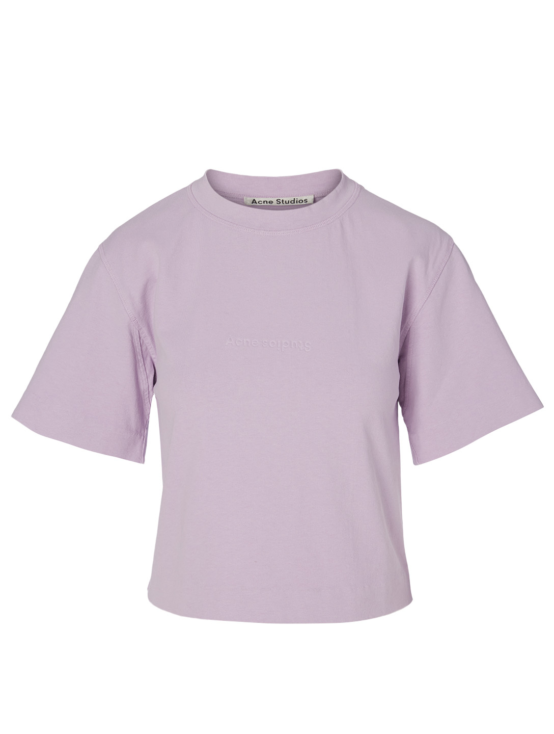 ACNE STUDIOS Cotton Logo Crop T-Shirt Women's Purple