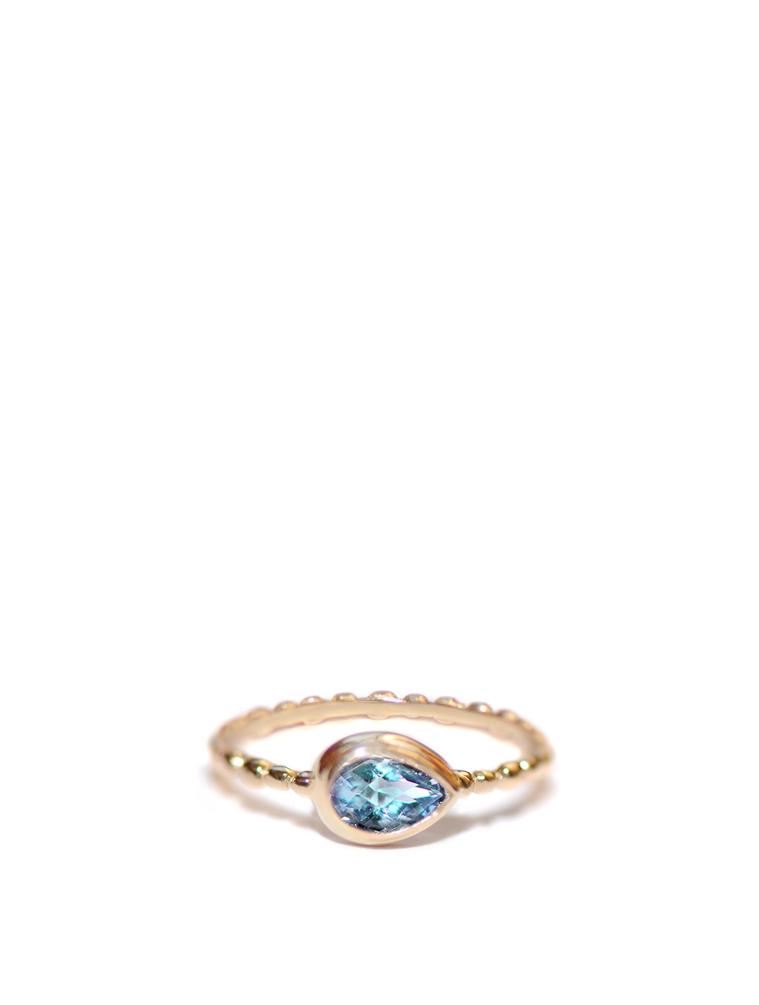 ANZIE Dew Drop 14K Gold Pear Stackable Ring With Swiss Blue Topaz Women's Metallic
