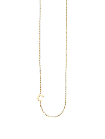 ANZIE Customizable Love Letter 14K Gold C Necklace With Diamond Women's Metallic