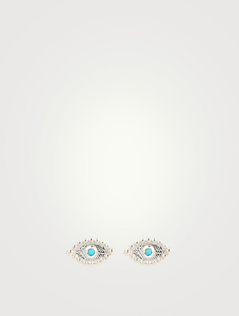 ANZIE Dew Drop Sterling Silver Evil Eye Stud Earrings With Sleeping Beauty Turquoise Women's Metallic