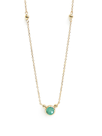 ANZIE Bonheur 14K Gold Birthstone Necklace With Emerald Women's Metallic