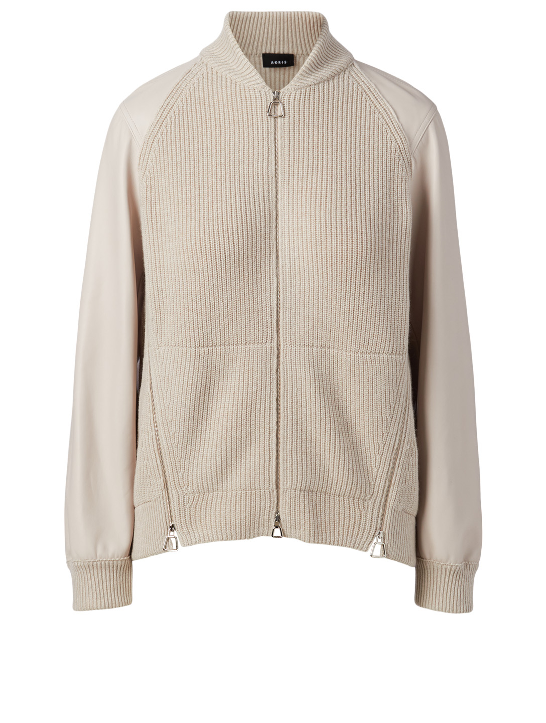 AKRIS Cashmere And Leather Cardigan Women's Beige