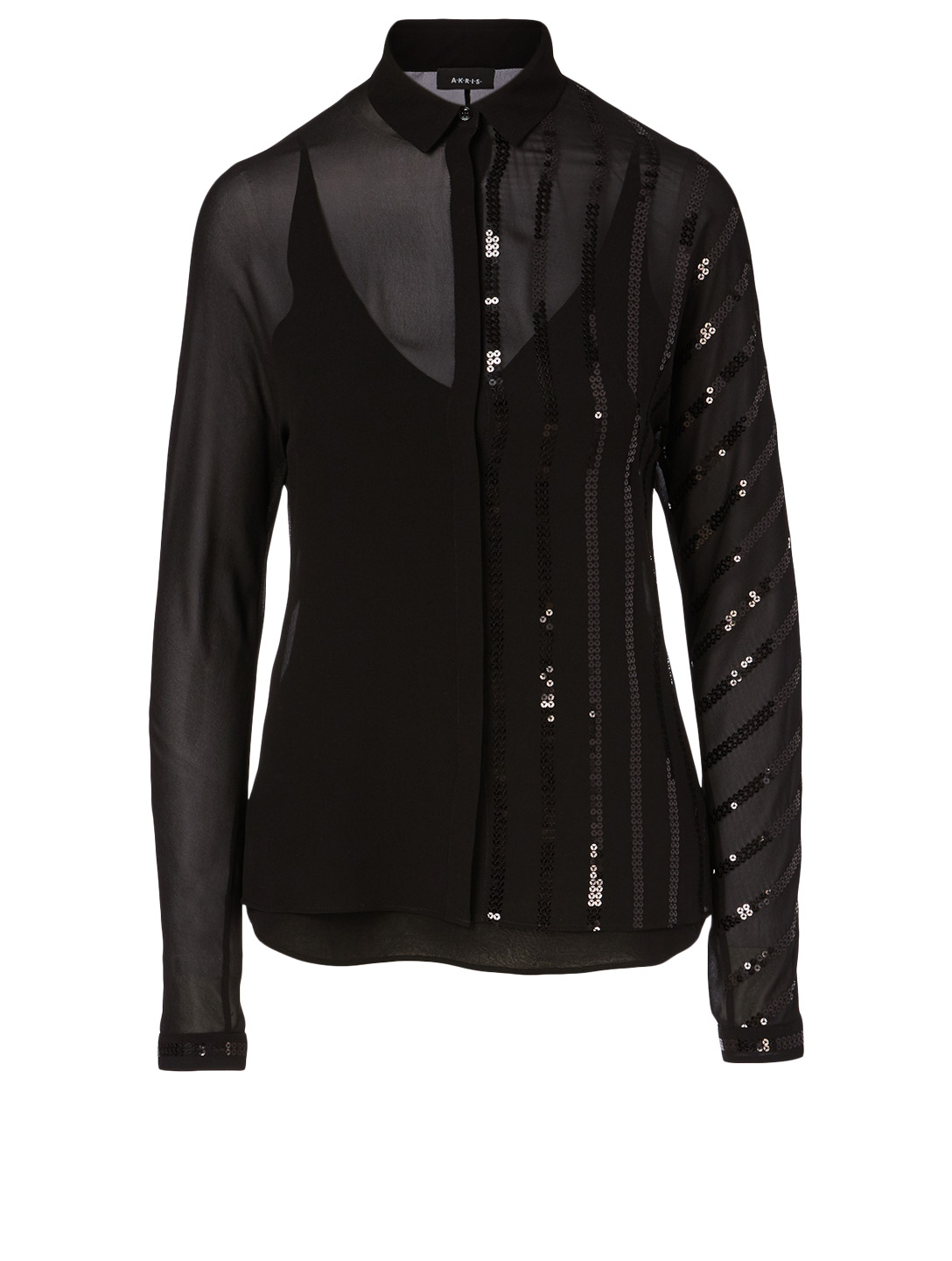 AKRIS Silk-Blend Sequin Blouse Women's Black