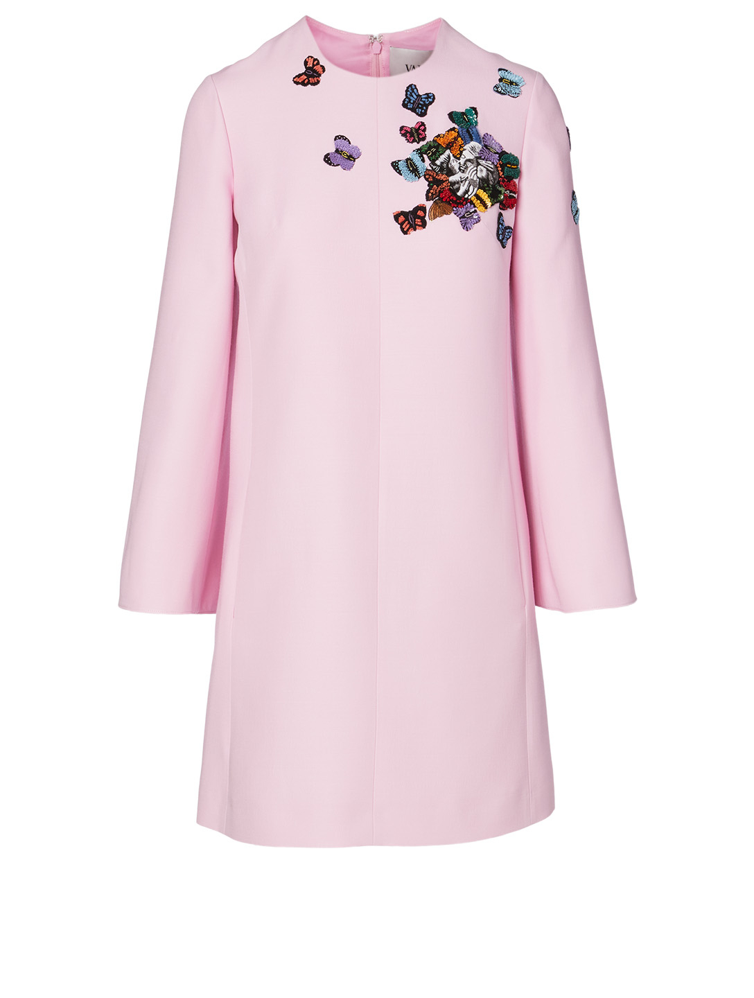 VALENTINO Wool And Silk Dress With Butterfly Embroidery Women's Pink
