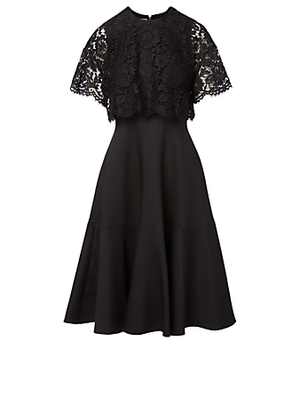 VALENTINO Wool And Silk Cape Dress Women's Black