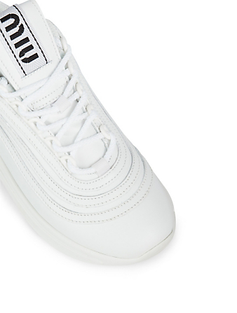 MIU MIU Leather Sneakers With Crystals Women's White