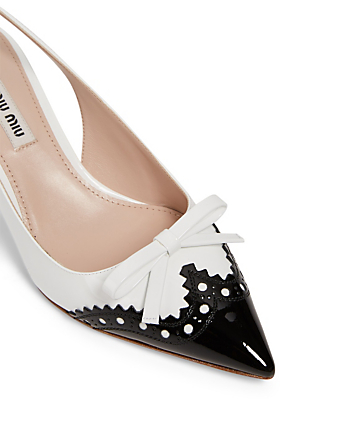 MIU MIU Patent Leather Spectator Slingback Pumps Women's White