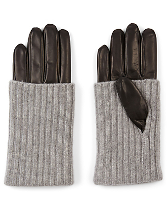 PORTOLANO Leather Gloves With Cashmere Cuff Women's Black