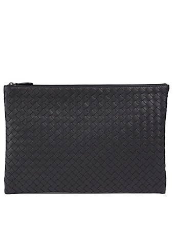 BOTTEGA VENETA Intrecciato Leather Pouch Men's Blue