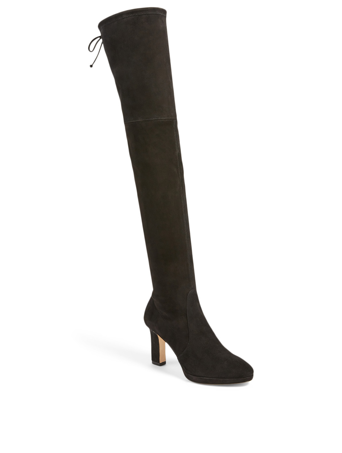 STUART WEITZMAN Ledyland Suede Heeled Over-The-Knee Boots Women's Black