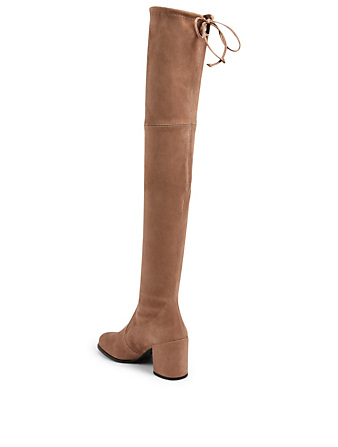 STUART WEITZMAN Tieland Suede Heeled Over-The-Knee Boots Women's Beige