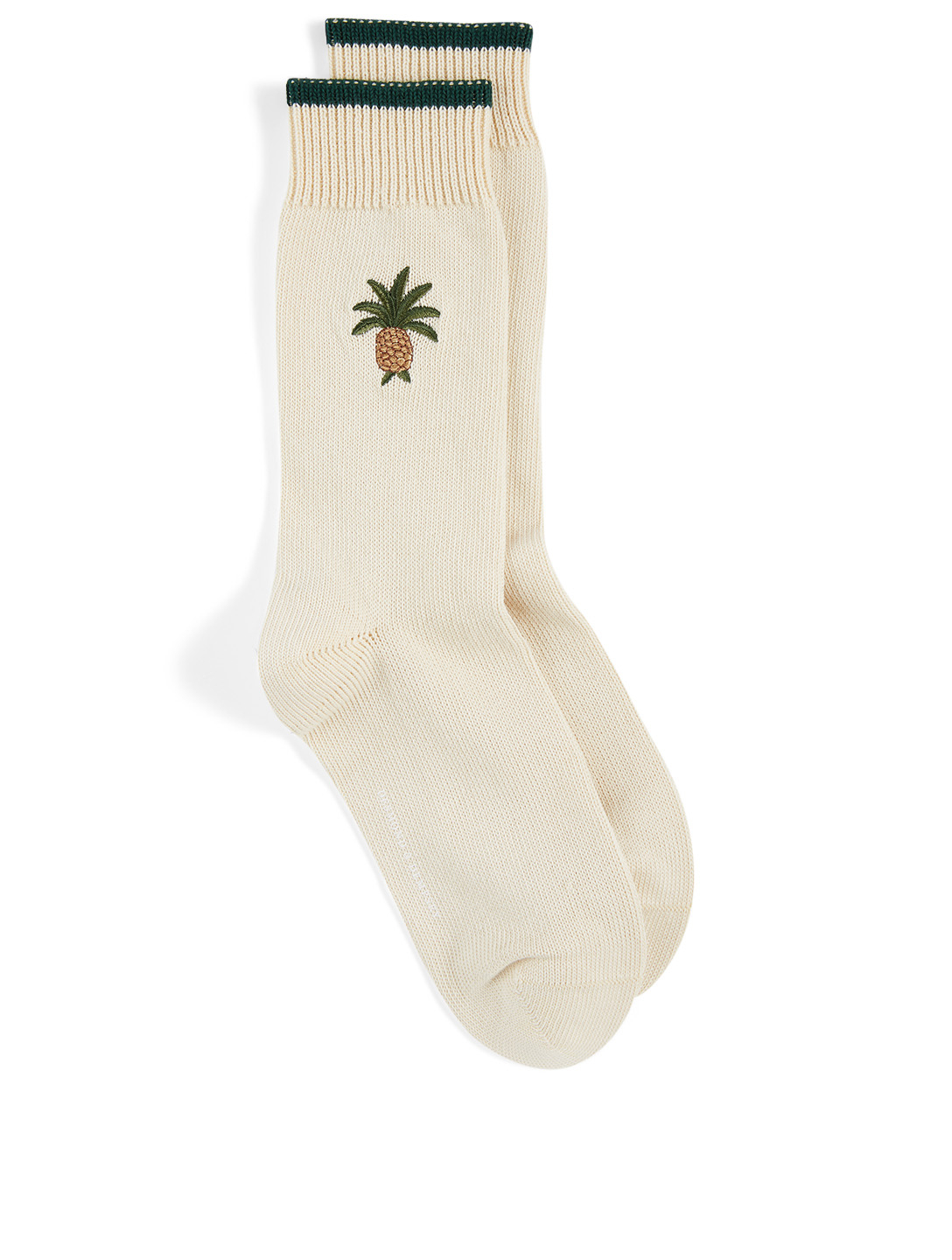 DESMOND & DEMPSEY Pineapple Embroidered Cotton Socks H Project Neutral