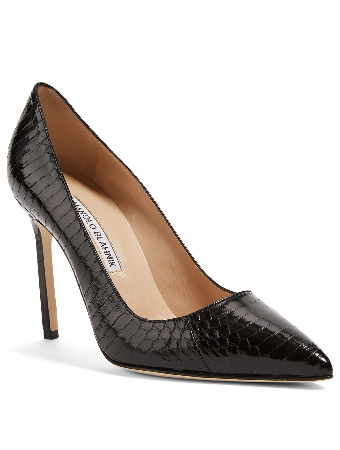 MANOLO BLAHNIK BB 105 Snakeskin Pumps Women's Black