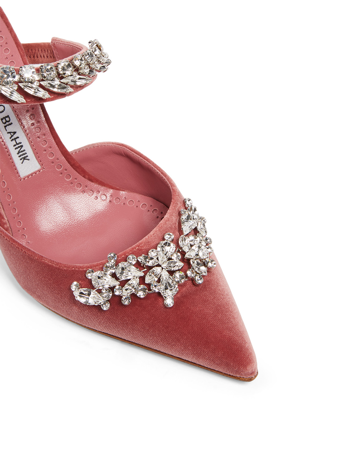 MANOLO BLAHNIK Lurum Velvet Mules With Crystal Embellishment Women's Pink